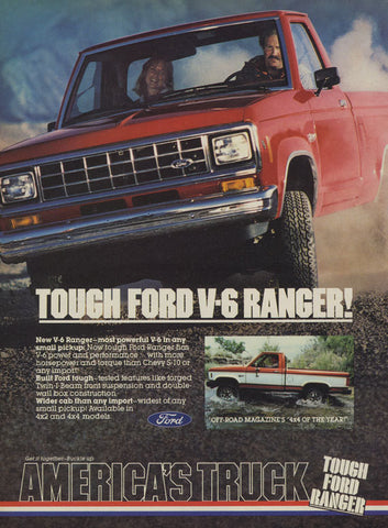 1983 Ford V-6 Ranger Truck Ad Vintage Truck Advertisement Print - Man Cave Wall Art - Gift for Him - Auto Shop Wall Decor