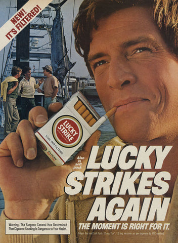 1983 Lucky Strike Cigarettes Ad Man Smoking Shipyard Photo Vintage Tobacco Advertisement Print Wall Art