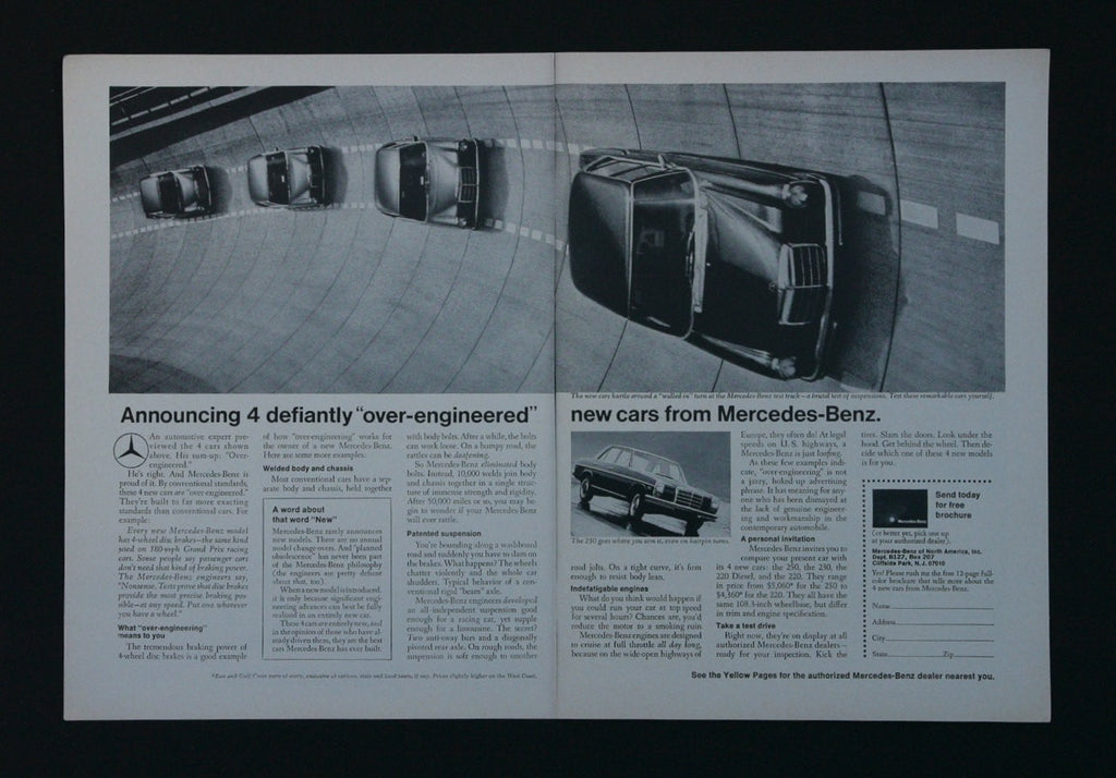 "1968 Mercedes-Benz Vintage Advertising 4 ""over-engineered"" New Cars Black & White Driving Photo Print Ad, Wall Art Decor"