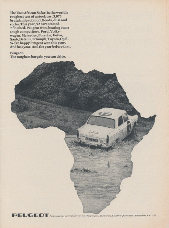 1968 Peugeot Vintage Advertisement Africa Classic Car Photo Print Ad Garage Wall Art Decor