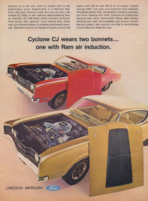 1969 Ford Lincoln Mercury Cyclone CJ Car Ad Muscle Cars Photo Vintage Advertising Man Cave Wall Art Print Gift for Him Garage Shop Decor