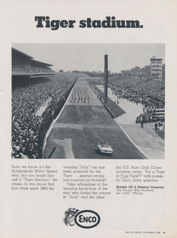 1968 Enco Gasoline Vintage Advertisement Tiger Stadium Auto Racing Photo Print Man Cave Garage Art