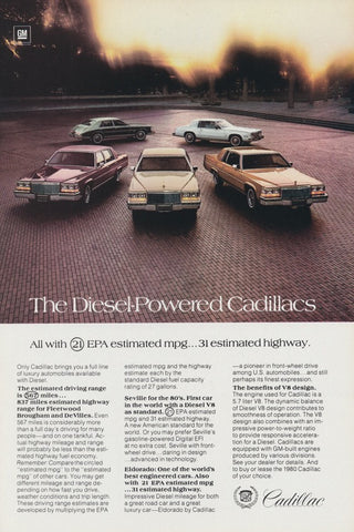 1980 Diesel-Powered Cadillacs Ad Line Up Vintage Advertising Car Photo Print Wall Art Decor