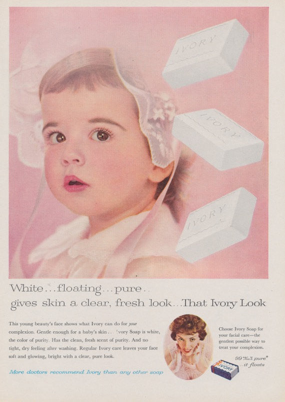 1950s Ivory Bar Soap Ad Baby Girl Photo Vintage Advertising Print Pretty Pink Bathroom Wall Art Decor