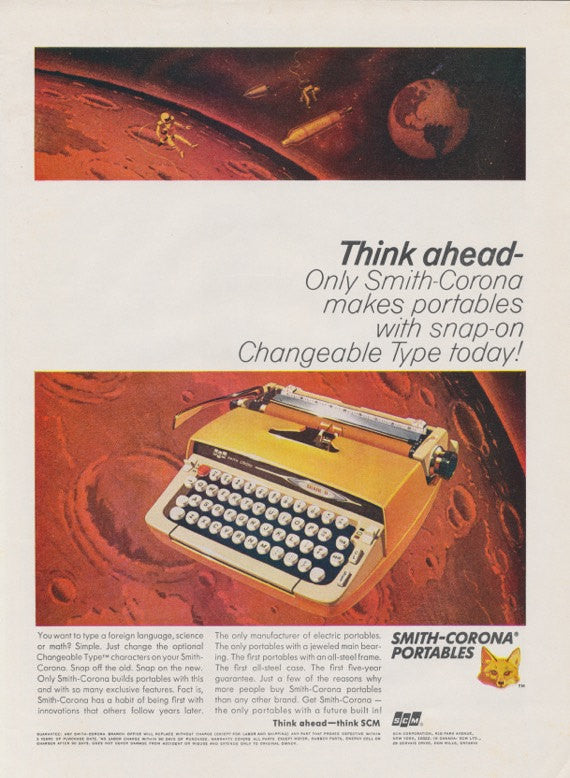 Vintage Typewriter Advertisement Portable Smith-Corona Typewriter 1970s Futuristic Technology Science Fiction Print Ad Office Wall Art