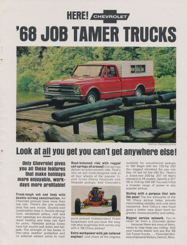 68 Chevy Job Tamer Trucks Ad Chevrolet Red Pickup with Cab Vintage Advertising Print Man Cave Wall Art Decor
