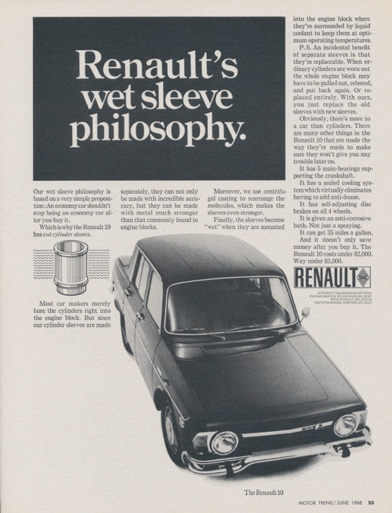 1968 Renault 10 Car Photo Ad Vintage Advertising Black & White Wet Sleeve Philosophy Print - Gift for Him - Garage Wall Art Decor