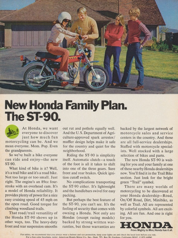 1973 Honda ST-90 Motorbike Ad Family Photo Vintage Advertising 1970s Motorcycle Print, Wall Art Decor