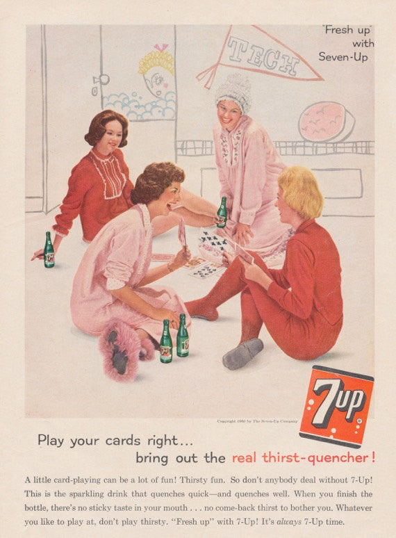 1960 Seven-Up Cola Ad Retro Slumber Party Photo 7 Up Soda Pop Collectible Vintage Advertising Wall Art Decor Print