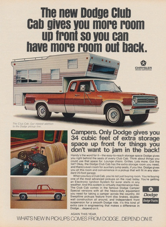 Dodge Club Cab Truck Ad Vintage Advertising Man Cave Wall Art Decor