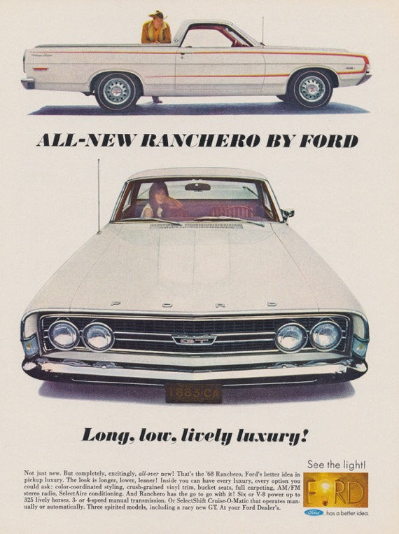 1968 Ford Ranchero Ad White Pickup Classic Car Photo Print Vintage Advertising Wall Art Decor