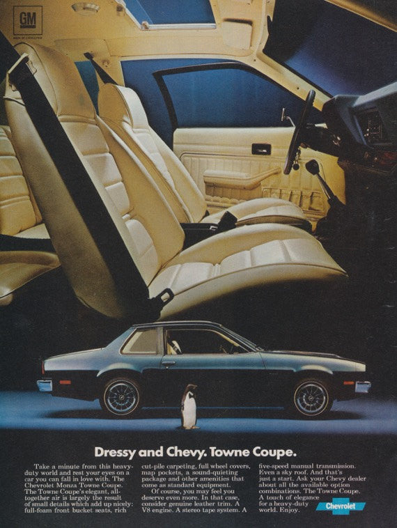 1976 Chevy Towne Coupe Car Photo Ad Chevrolet Automobile Vintage Advertising Print Wall Art Decor