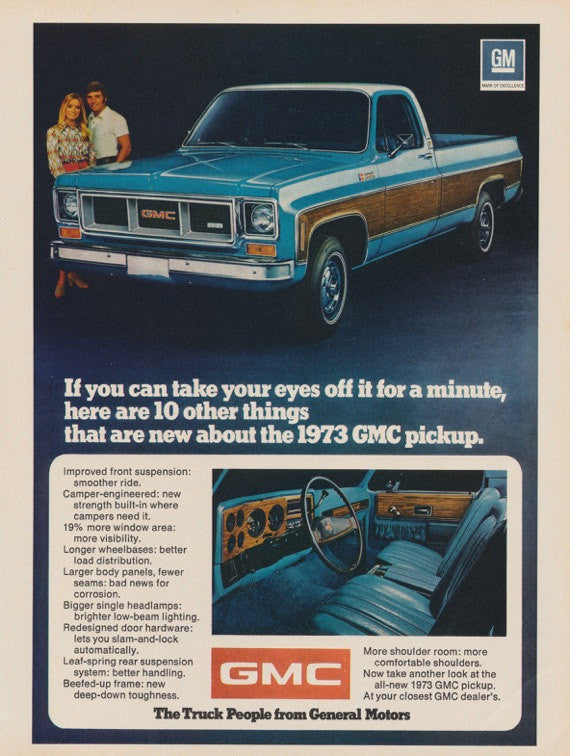1973 GMC Pickup Truck Photo Ad  Blue Truck with Wood Panel Print Vintage Advertising Man Cave Wall Art
