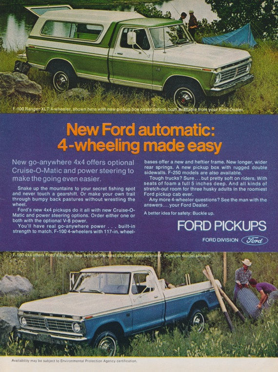 1973 Ford F-100 4-Wheelers Pickups Truck with Camper Top Photo Ad Vintage Advertising Man Cave Garage Wall Art Decor
