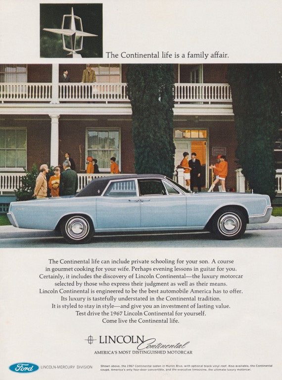 1967 Ford Lincoln Continental Car Photo Ad Vintage Advertising Automobile Print Wall Art Decor