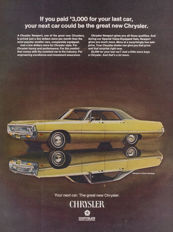 1969 Chrysler Newport Car Ad Vintage Advertising Print Wall Art Decor