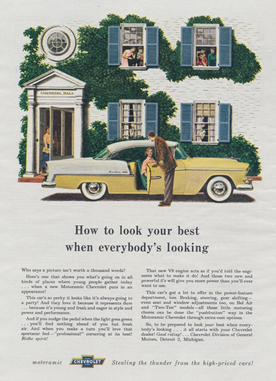 1955 Motoramic Chevrolet Classic Car Ad Yellow Chevy Bel Air Colonial Hall Dorm Illustration Vintage Advertising Print, Wall Art Decor
