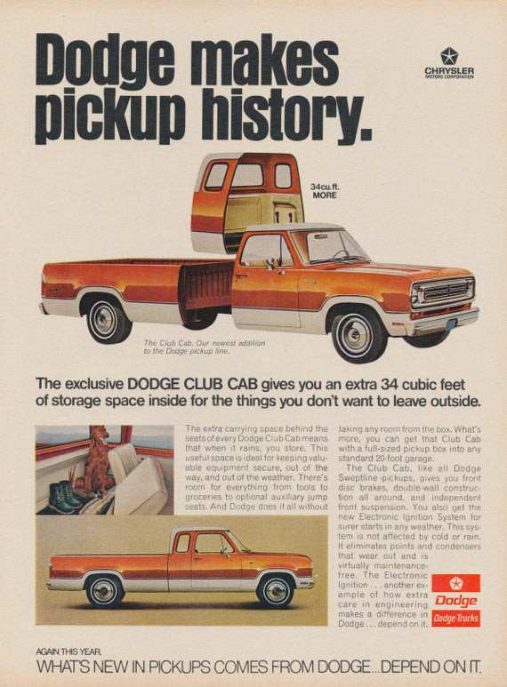 1973 Dodge Club Cab Pickup Truck Ad Vintage Advertising Photo Print Garage Man Cave Wall Art