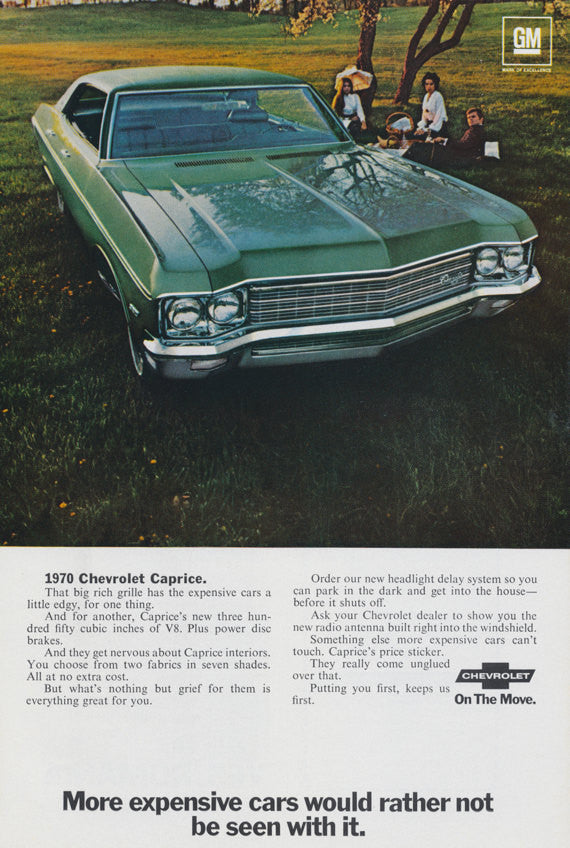 1970 Chevrolet Caprice Ad Green Classic Car Vintage Advertising Print, Wall Art Decor