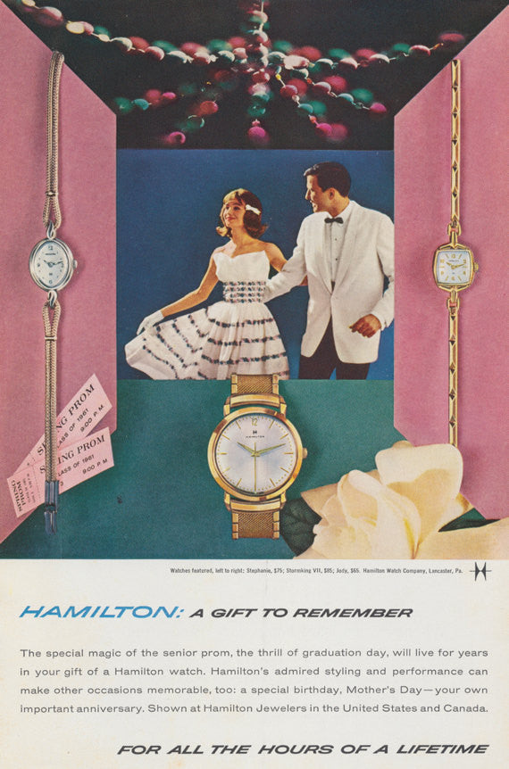 1961 Hamilton Watch Ad Prom Couple Photo Mad Men Era Vintage Advertising Print, Jewelry Store Wall Art Decor