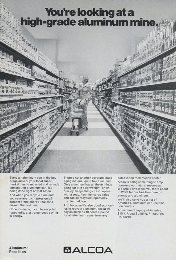 1973 Alcoa Aluminum Ad Vintage Advertising Woman Shopping in Grocery Store Black & White Photo Print, Wall Art Decor