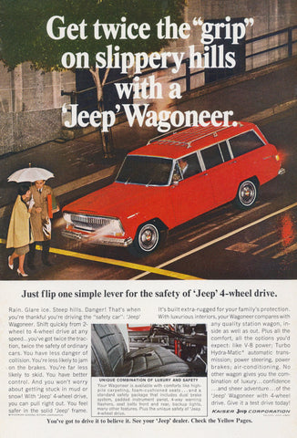 1967 Jeep Wagoneer Ad Car Photo Vintage Advertising, Wall Art Decor Print
