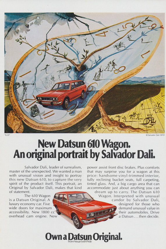 1972 Nissan DATSUN 610 Wagon Car Ad An Original Portrait by SALVADOR DALI Art Print Surrealist Vintage Advertising Surrealism Wall Decor