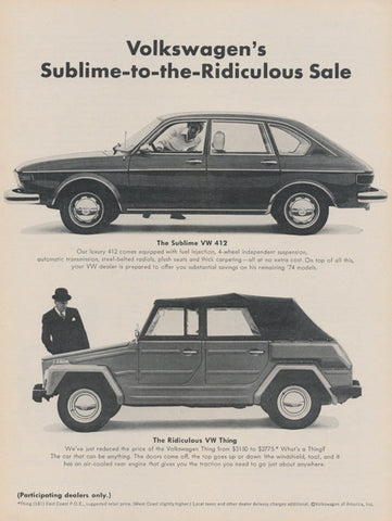1975 VW Volkswagen Car Ad Sublime to Ridiculous Vintage Advertising Photo Print Wall Art