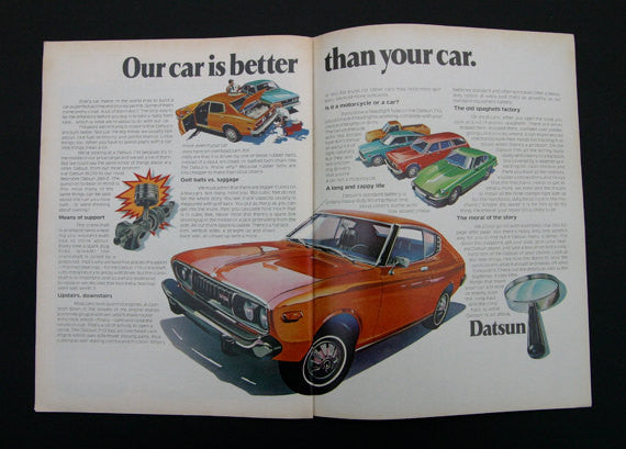 1975 Datsun 710 Car Ad 2-Page Vintage Advertisement Illustrated Print, Wall Art