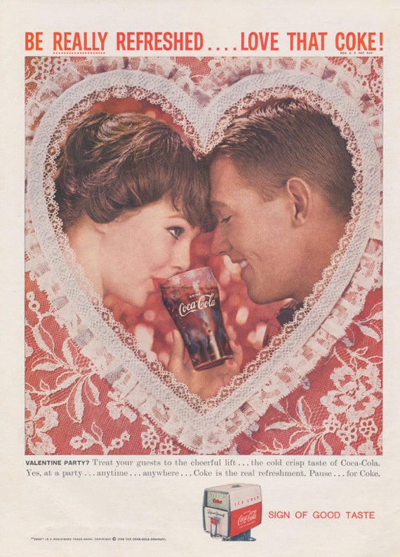 1950s Coca Cola Ad - Vintage Advertising Art - Valentine's Day Wall Decor - Couple Photo - Retro Print