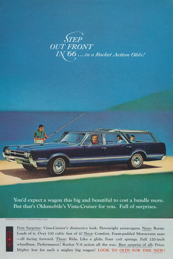 1966 Oldsmobile Vista-Cruiser Station Wagon Ad, Family on Vacation Illustrated Vintage Advertising Art Print, Wall Decor