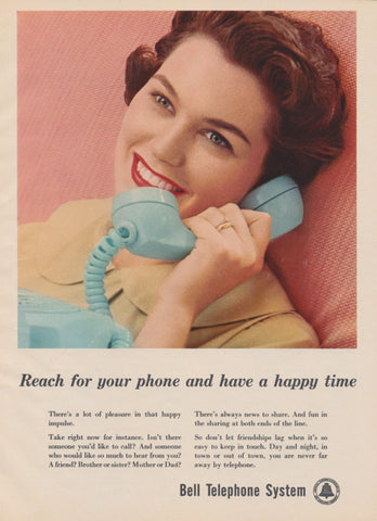 1959 Bell Telephone System Ad Vintage Advertising Retro Woman 1950s Housewife Photo Happy Time Print Wall Art Decor - Gift for Her