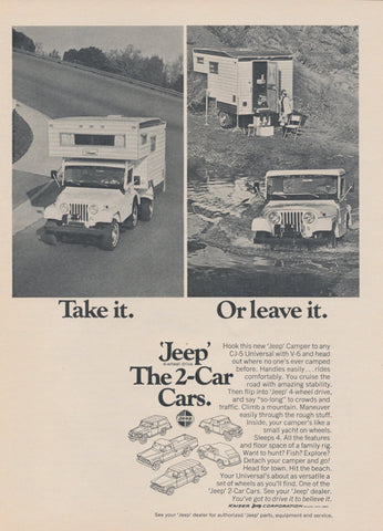Jeep Camper Ad Vintage Advertisement Print Wall Art Decor