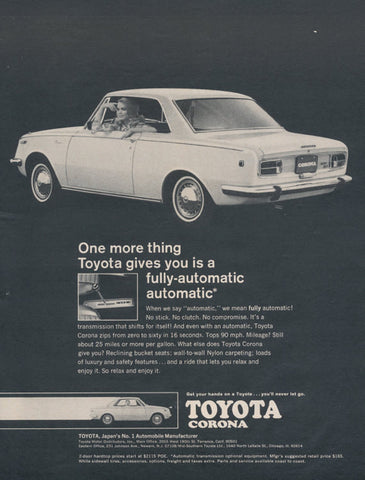 1968 Toyota Corona Ad 1960s Black & White 2-Door Hardtop Fully-Automatic Car Photo Print, Wall Art Decor