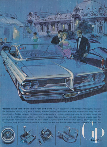 1962 Wide-Track Pontiac Grand Prix Car Ad, Blue & Purple Illustrated Classic Automobile Vintage Advertisement Print, Retro Wall Art Decor