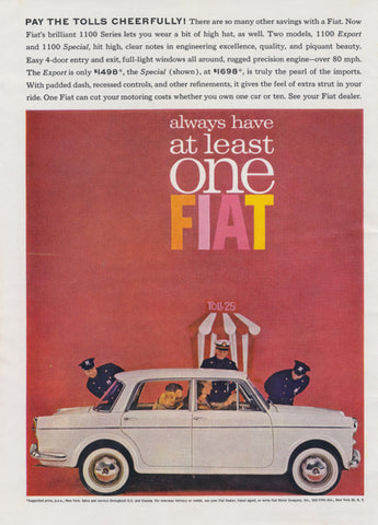 1962 Fiat 1100 Export & 1100 Special Car Photo Ad, Vintage Advertising 1960s Mod Wall Art Decor