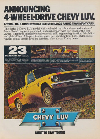 1979 Chevy Luv Pickup Truck Ad Chevrolet 4-Wheel Drive Automobile Vintage Advertisement Photo Print, Wall Art Decor