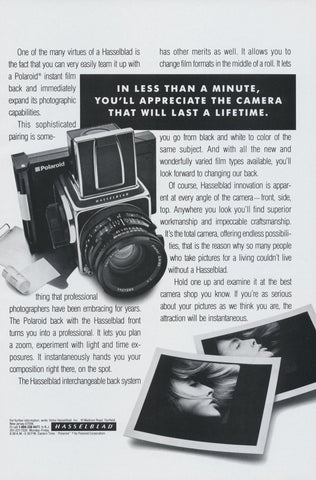Hasselblad Camera with Polaroid Instant Film Back Ad Vintage Technology Advertisement Print Wall Art Decor