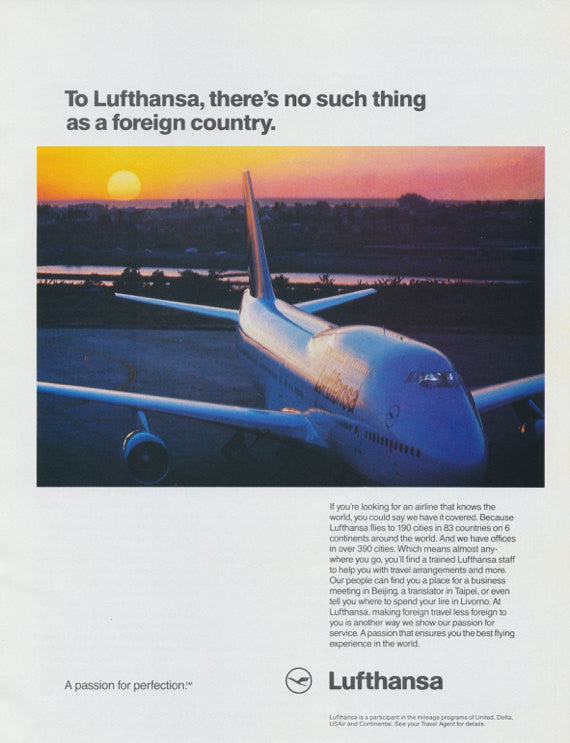 "Lufthansa Airline Ad 1991 Vintage Advertisement ""Foreign Country"" Airplane Photo Print, Wall Art Decor"