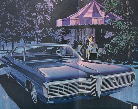 68 Grand Prix Car Ad, Wide-Track Pontiac Purple & Blue Carousel Illustration Vintage Advertising Art Print 2-Pages, Retro Wall Art Decor