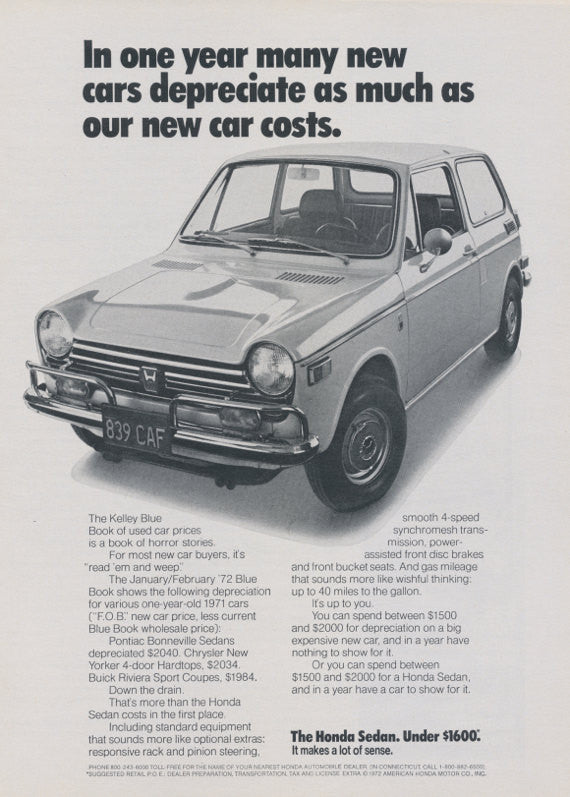 1972 Honda Sedan Car Photo Ad Vintage Advertising Print, Wall Art Decor