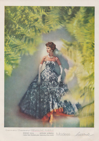 1950s Modess Feminine Hygiene Product Ad Vintage Advertising Retro Woman in Blue & White Evening Gown, Bathroom / Vanity Wall Art Decor