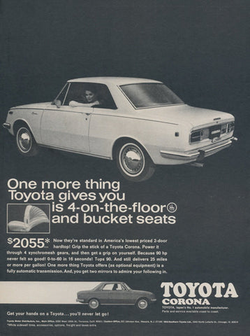 1969 Toyota Corona Ad Vintage Advertising 1960s Black & White 2-Door Hardtop Car Photo Print Wall Art Decor