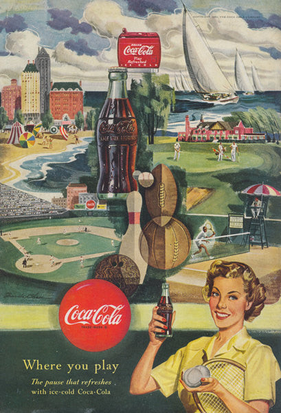 1950 Coca Cola Ad Sports Illustration Original Mid Century Vintage Advertising Game Room Restaurant Wall Art Francis Chase Art