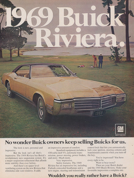 1969 Buick Riveria Classic Car on Golf Course Photo Print Ad Vintage Advertising Wall Decor Art