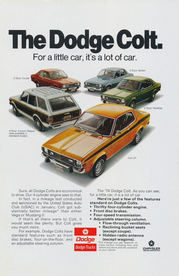 1974 Dodge Colt GT Car Photo Ad Vintage Advertising Print Wall Art Decor
