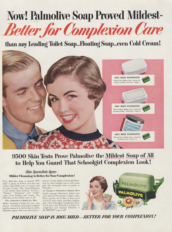 1954 Palmolive Soap Ad Schoolgirl Complexion Vintage Advertising Photo Print Bathroom Art Wall Decor - Gift for Her