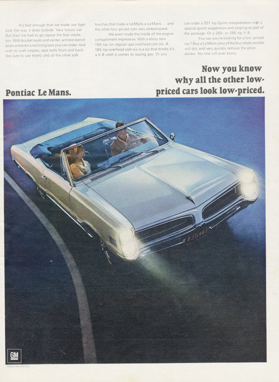 1966 Pontiac Le Mans Convertible Car Ad Classic White Automobile Vintage Advertising Photo Print Retro Wall Art Decor