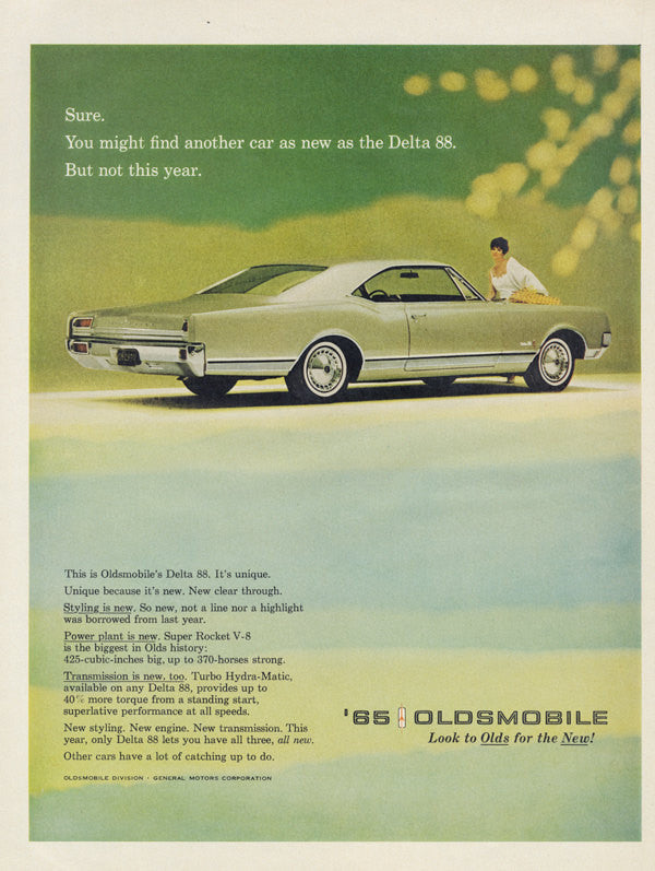 1965 Oldsmobile Delta 88 Classic Car Photo Ad Mad Men Era Vintage Automobile Advertising Green Wall Art Print