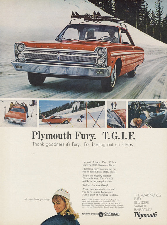 1965 Chrysler Plymouth Fury Car Ad Red Automobile Photo Vintage Advertising Wall Art Print